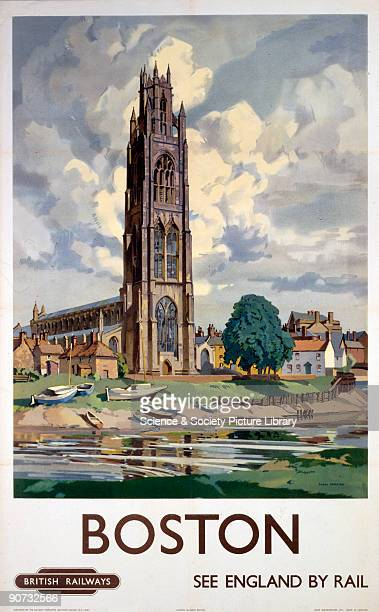 Poster produced by British Railways to promote train services ot Boston Lincolnshire Artwork by Freda Marston