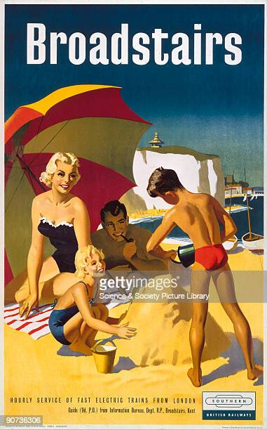 Poster produced by British Railways to promote train services to Broadstairs in Kent Artwork by an unknown artist