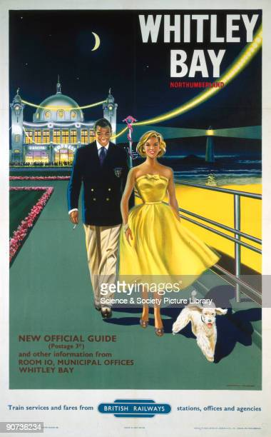 Poster produced by British Railways to promote train services to Whitley Bay,Tyne and Wear. Artwork by Davies.
