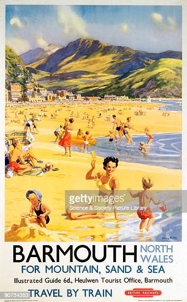 Poster produced by British Railways to promote train services to the coastal resort of Barmouth in Wales. Artwork by Harry Riley.