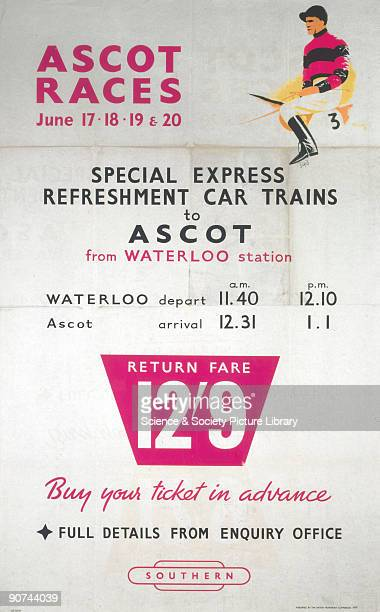 Poster produced by British Railways to promote train services to the Ascot races from Waterloo Station The railway laid on special refreshment car...