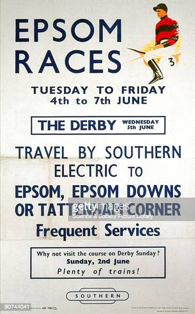 Poster produced by British Railways to promote train services to the Epsom Races from the 4 7 June 1957 Artwork by Patrick Cokayne Keely who in...