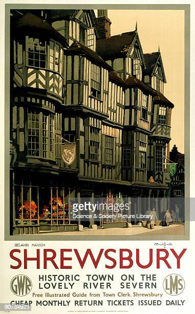 Poster produced by Great Western Railway and London Midland Scottish Railway poster to promote rail travel to the Shropshire town of Shrewsbury...