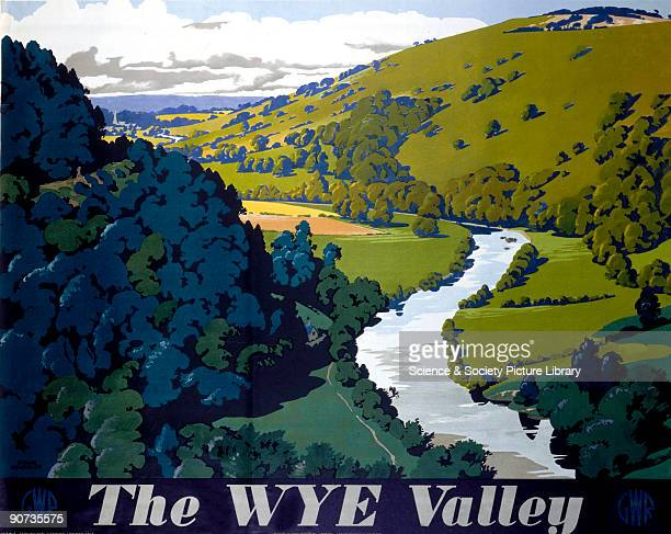 Poster produced by Great Western Railway to promote rail travel to the Wye Valley Hereford and Worcester Artwork by Frank Newbould who studied at...
