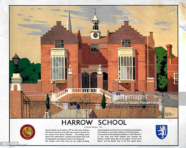Poster produced by London Midland Scottish Railway as part of a series devoted to public schools in England This poster shows a view of Harrow School...
