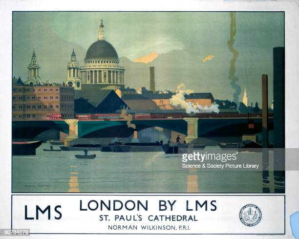 Poster produced by London Midland Scottish Railway to promote rail services to London The poster shows a view across the Thames to St Paul�s...