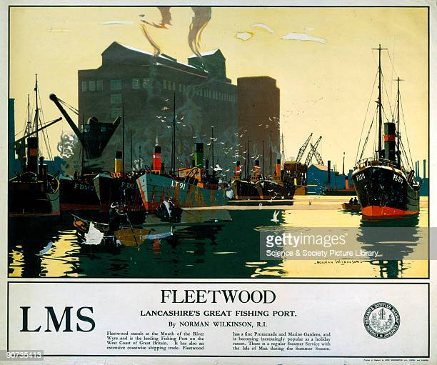 Poster produced by London Midland Scottish Railways to promote rail travel to Fleetwood in Lancashire Fleetwood stands at the mouth of the River Wyre...