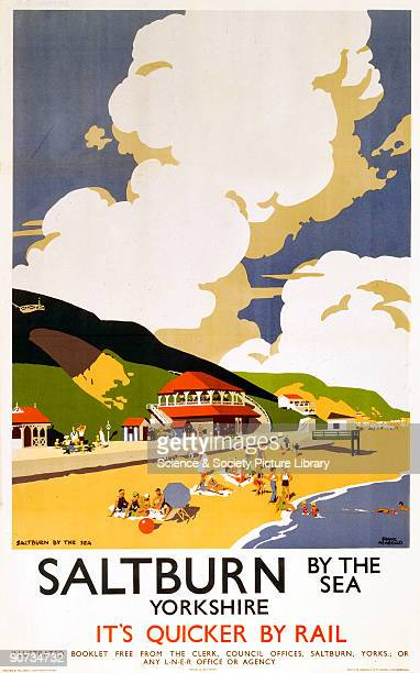 Poster produced by London North Eastern Railway to promote rail services to SaltburnbytheSea Yorkshire Artwork by Frank Newbould who studied at...