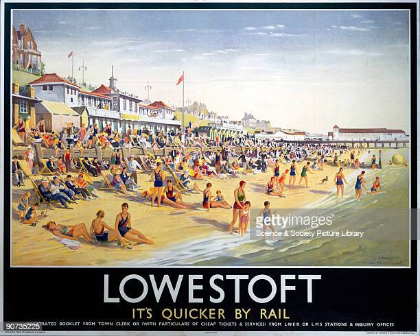 Poster produced by London North Eastern Railway to promote rail services to Lowestoft in Suffolk Artwork by Charles Ernest Cundall