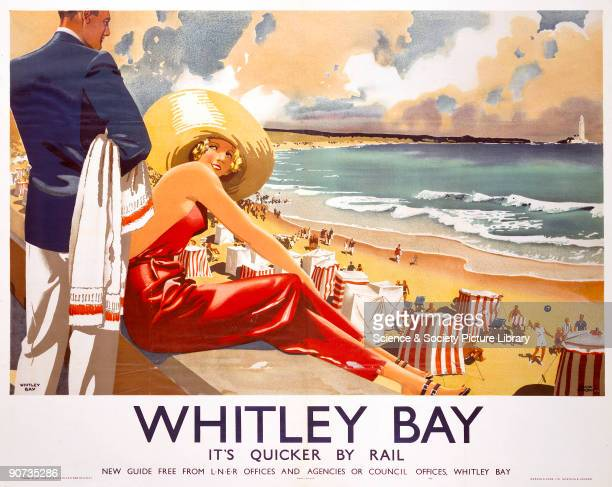 Poster produced by London & North Eastern Railway to promote rail services to Whitley Bay, Tyne and Wear. The poster shows a woman in a large sunhat...