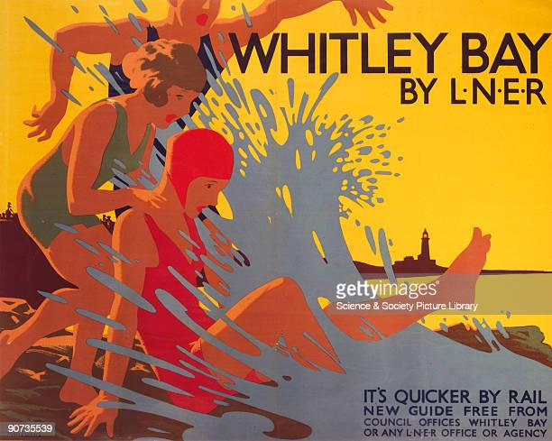 Poster produced by London & North Eastern Railway to promote rail travel to Whitley Bay, Tyne and Wear. The poster shows three figures on the sand on...