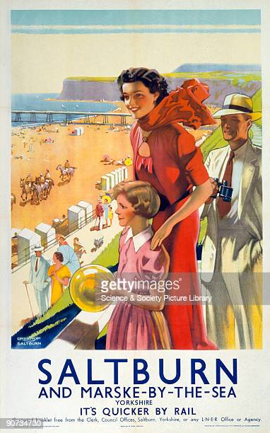 Poster produced by London North Eastern Railway to promote train services to Saltburn and MarskebytheSea in Cleveland Artwork by J Greenup