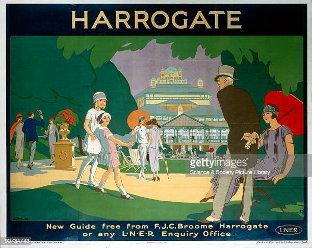 Poster produced by London North Eastern Railway to promote train services to Harrogate in Yorkshire Artwork by L Hocknell