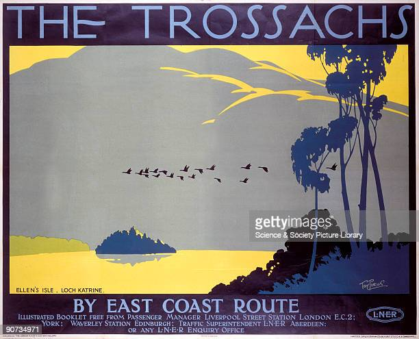 Poster produced by London North Eastern Railway to promote train services to The Trossachs in Scotland via the East Coast route The poster shows a...