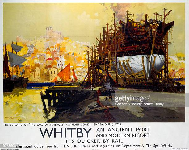 Poster produced by London North Eastern Railway to promote train services to Whitby in North Yorkshire The poster shows �The Building of the �Earl of...