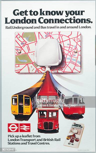 Poster produced for British Rail and London Transport promoting rail underground and bus travel in and around London The image shows a map of central...