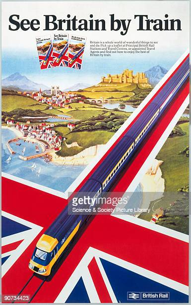 Poster produced for British Rail , promoting rail travel across Great Britain, showing an inter-city locomotive travelling across the Union Flag,...