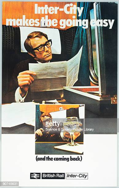 Poster produced for British Rail showing a commuter in a carriage on his way to work reading a newspaper and below on his homeward journey with an...