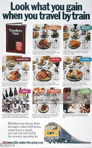 Poster produced for British Rail showing the full range of meals and snacks offered by Travellers Fare on InterCity trains The passenger can choose...