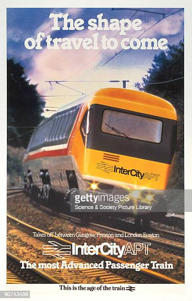 Poster produced for British Rail to advertise their InterCity APT service between Glasgow Preston and London Euston The poster shows an InterCity APT...