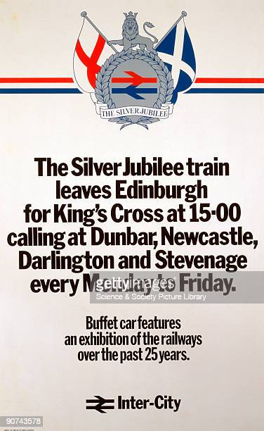 Poster produced for British Rail to promote rail services on the Silver Jubilee train from Edinburgh to King�s Cross, London.