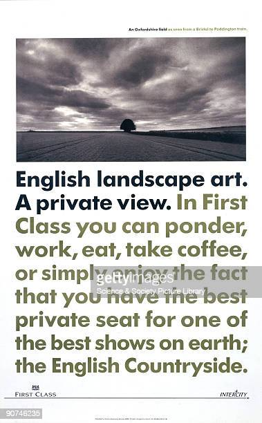 Poster produced for British Rail to promote their Intercity First Class services. View of an Oxfordshire field as seen from a Bristol to Paddington...