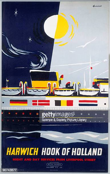 Poster produced for British Railways advertising night and day services from Liverpool Street Station to Harwich Illustrated with ferry in the...