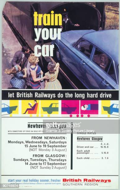 Poster produced for British Railways , advertising the transportation of both passengers and their cars on routes from Newhaven in East Sussex and...