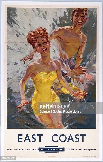 Poster produced for British Railways Eastern Region promoting rail travel to the east coast of Great Britain showing a young couple laughing and...