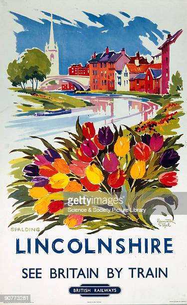 Poster produced for British Railways Eastern Region promoting rail travel to the Lincolnshire town of Spalding on the river Ware showing town...