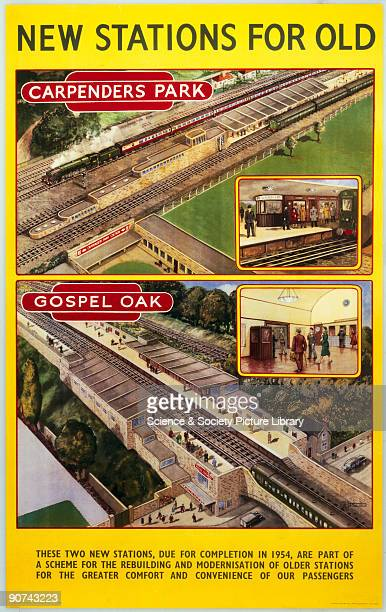 Poster produced for British Railways , London Midland Region , showing aerial views of new stations at Carpenders Park, South Oxhey, Hertfordshire...