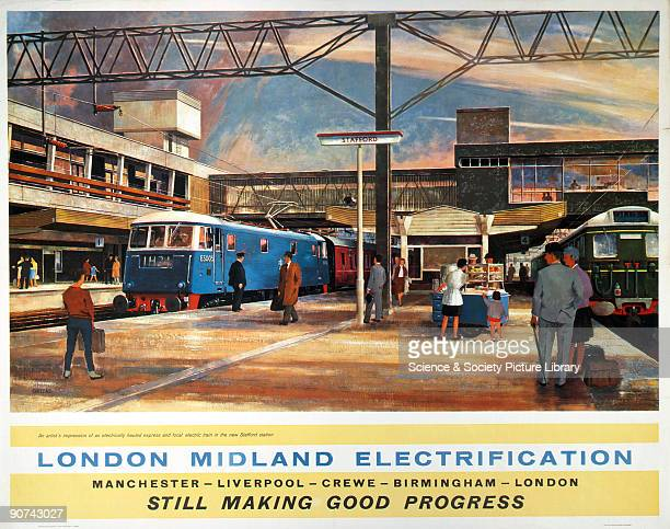 Poster produced for British Railways London Midland Region to promote the progress made on the electrification of the railways The poster shows an...