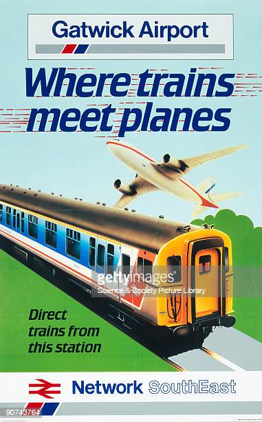 Poster produced for British Railways Network SouthEast promoting rail links to Gatwick Airport in West Sussex showing a train travelling through the...