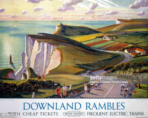 Poster produced for British Railways promoting rail services to the East Sussex coast showing a panoramic view of the cliffs of Beachy Head at...