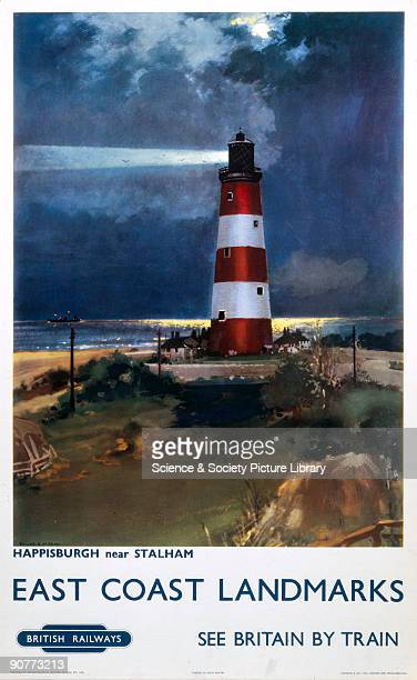 Poster produced for British Railways promoting rail travel to the East Coast of Britain showing a nocturnal view of a lighthouse at the Norfolk...
