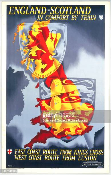 Poster produced for British Railways promoting routes from Kings Cross and Euston Stations in London to Scotland showing two heraldic shields...