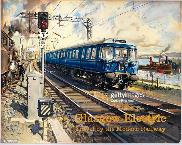 Poster produced for British Railways Scottish Region showing a Glasgow electric locomotive service bound for Helensburgh Artwork by Terence Cuneo...