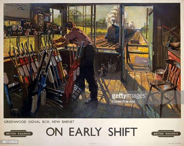 Poster produced for British Railways showing a railway worker manually operating the signals in the Greenwood signal box New Barnet London A steam...
