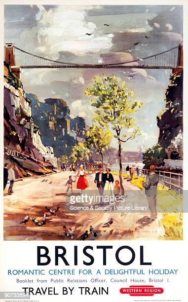 Poster produced for British Railways showing couples strolling along the Avon Gorge with the Clifton Suspension Bridge in the background Artwork by L...