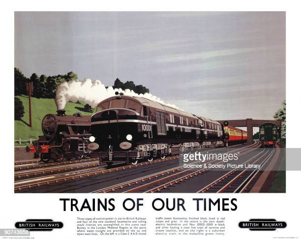 Poster produced for British Railways , showing examples of the three types of motive power used by its locomotives. On the left is shown a Class 5...