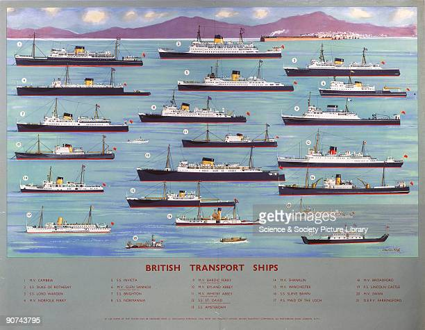 Poster produced for British Railways showing illustrations of 21 ships used by the company, with a key beneath the image giving the name of each...