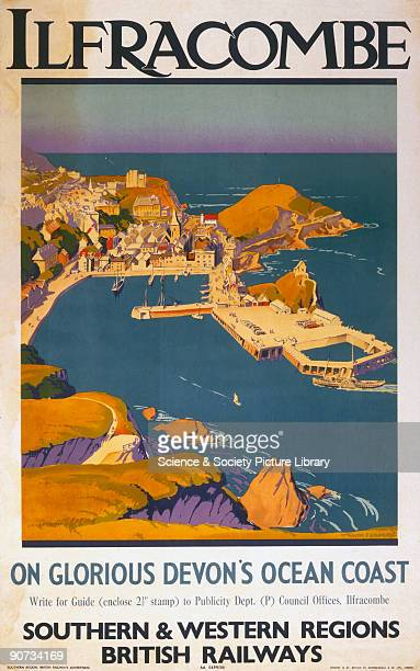 Poster produced for British Railways , Southern and Western Regions , promoting rail travel to the Devon resort of Ilfracombe, showing a clifftop...