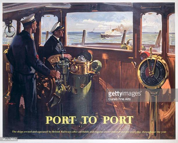 Poster produced for British Railways , Southern Region , promoting cross-channel services, showing an interior view of the bridge of a boat, where...