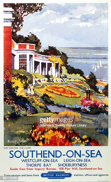 Poster produced for British Railways , subtitled �Sun Shelter, The Cliffs�, promoting rail travel to the Essex resort of Southend-On-Sea, showing a...