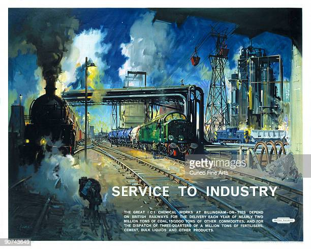 Poster produced for British Railways to advertise the company�s services to industry. The poster shows locomotives arriving and departing at the ICI...