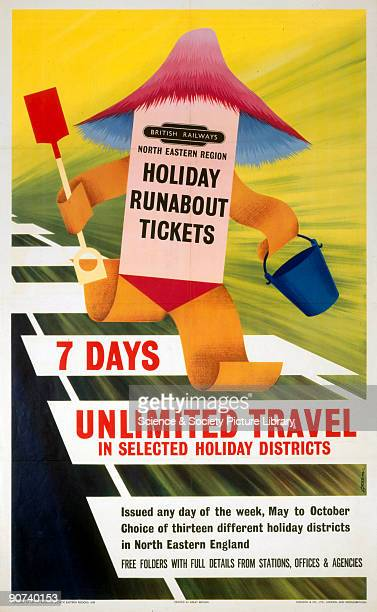 Poster produced for British Railways to advertise their seven day unlimited travel ticket illustrated with a paper child running along train tracks...
