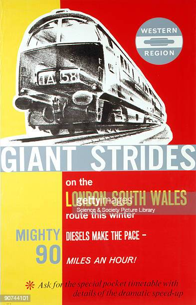 Poster produced for British Railways to promote improvements in the speed of trains on the LondonSouth Wales route Trains were hauled by diesel...
