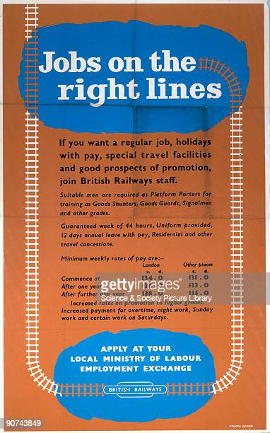 Poster produced for British Railways to promote job opportunities within the company with available positions including signalman goods guard and...