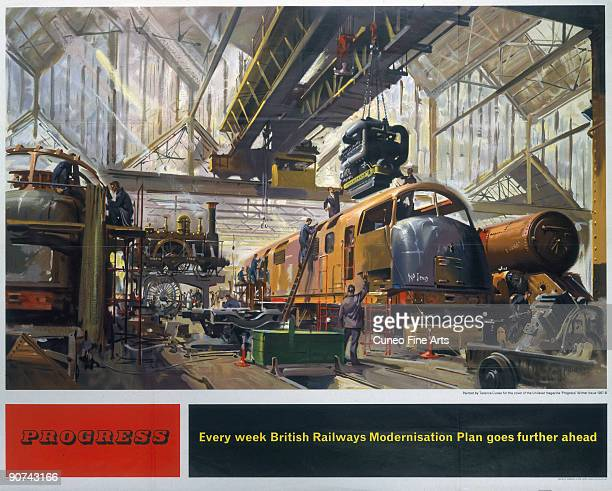 Poster produced for British Railways to promote progress on the company�s modernisation plan The poster is illustrated with a scene of locomotives at...