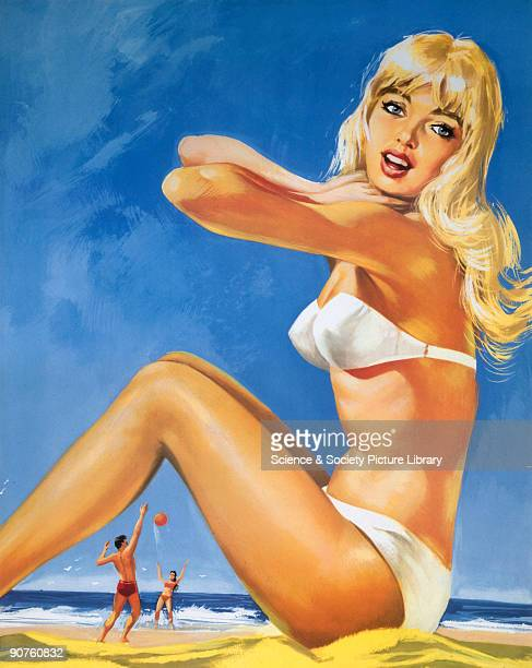 Poster produced for British Railways to promote rail services to Herne Bay on the Kent coast The poster shows a young woman in white bikini sitting...